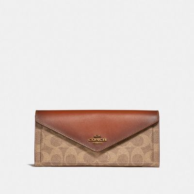 Cartera-grande-suave-de-Coated-Canvas-y-Coloblock-Coach