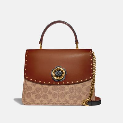 Bolsa-Satchel-Parker-Top-Handle-Coated-Canvas-Coach